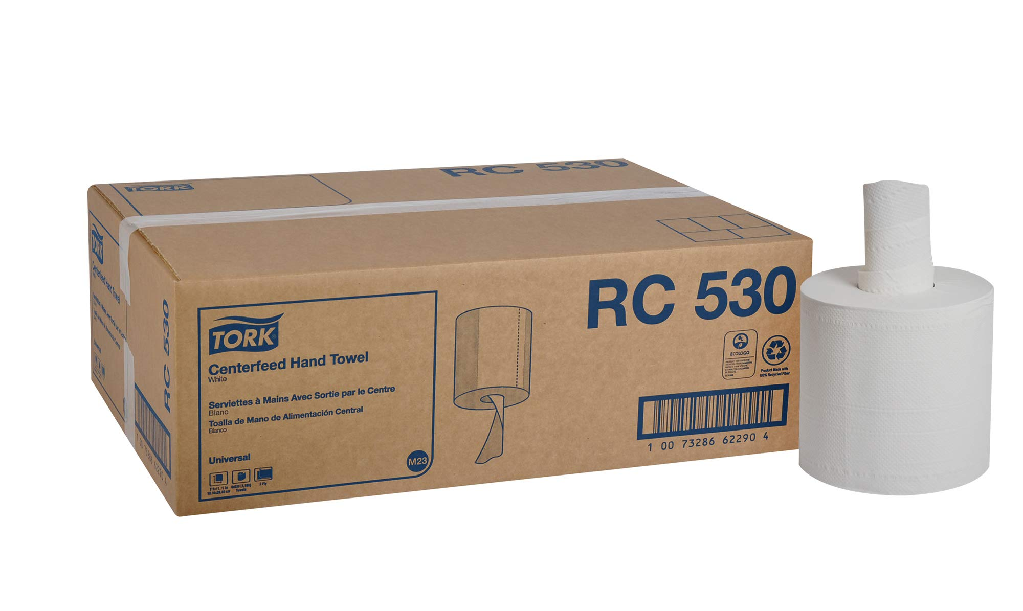 Tork Universal RC530 Centerfeed Paper Hand Towel Roll, 2-Ply, 7.6'' Width x 11.75'' Length, White (Case of 6 Rolls, 530 per Roll, 3,180 Towels)