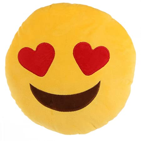 heart eyes smiley face emoji plush cushion amazon co uk kitchen home