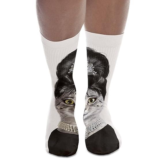 Calcetines unisex, estampados, hasta la rodilla, estilo juvenil multicolor Audrey Cat M: Amazon.es: Ropa y accesorios