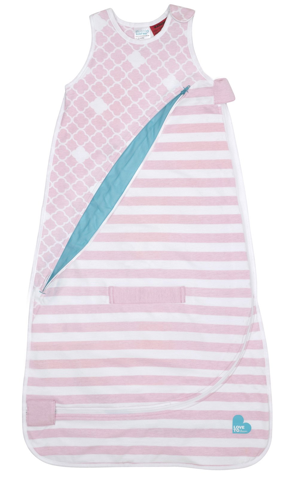 Love To Dream Inventa Lightweight Sleep Bag/Wearable Blanket with Unique Vented Cooling System, Luxurious Super-Soft Cotton, Stylish Fashion Design, 0.5 TOG, 4-12 Months, Light Pink by Love to Dream (Image #2)