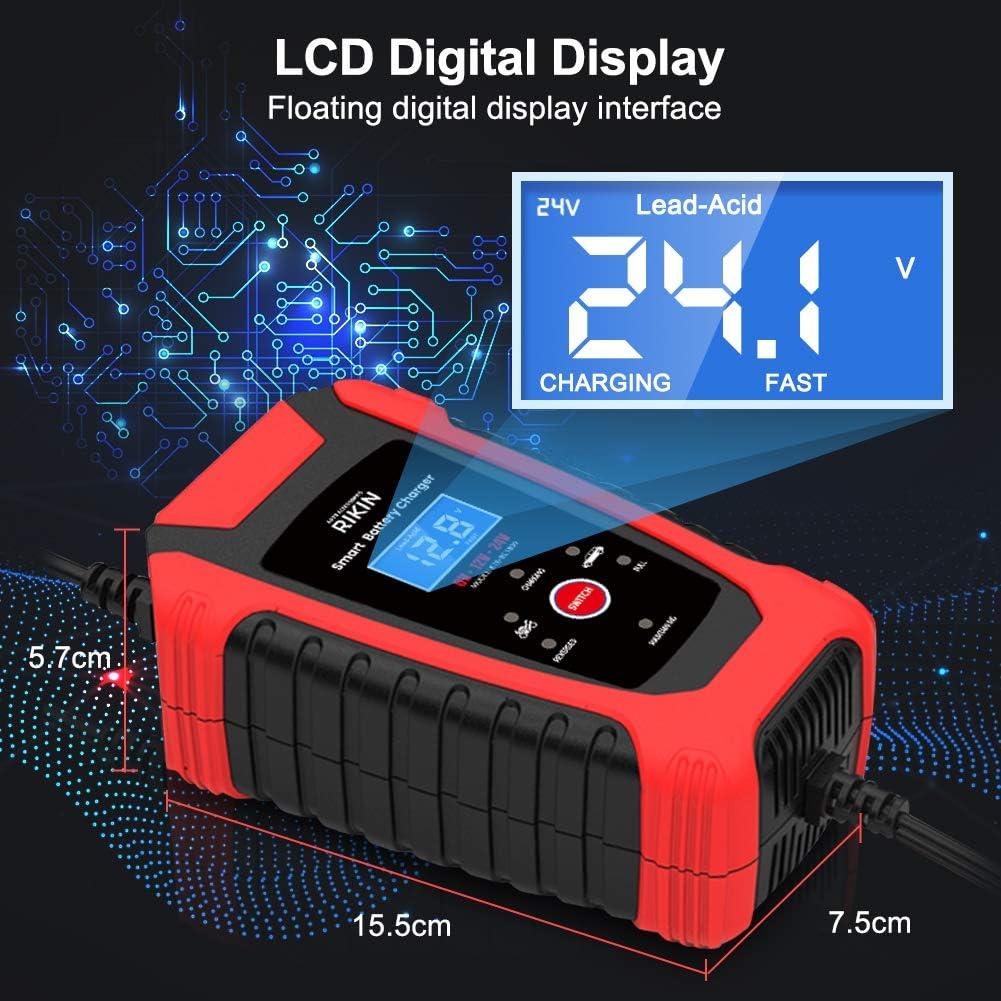 RIKIN Chargeur de Batterie Intelligent 6A 6V//12V//24V avec /Écran LCD Chargeur Moto Portable Rapide Multiples Modes de Charge de Protection de R/éparation pour Batterie de Voiture Moto Bateau