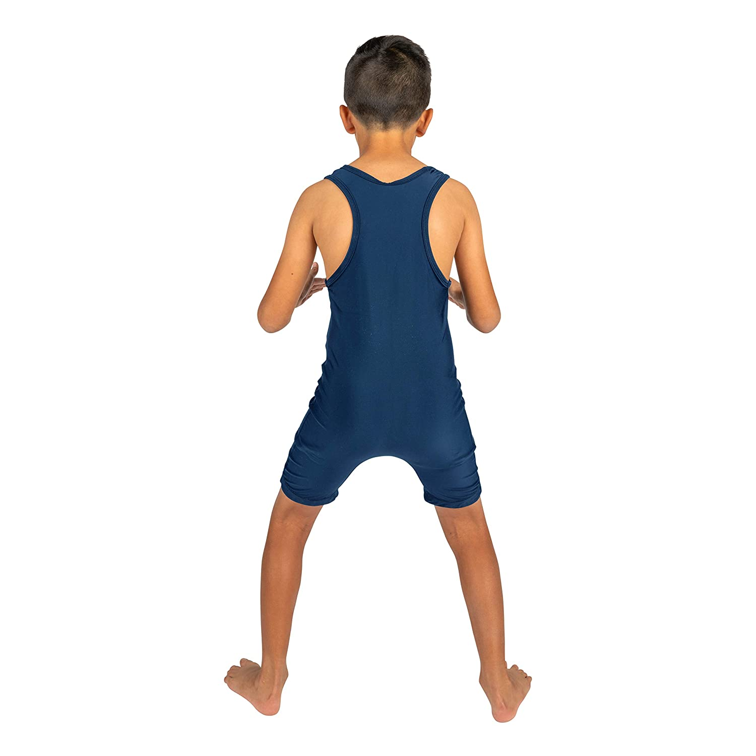4 Time All American Solid Navy Blue Wrestling Singlet Size 2XS