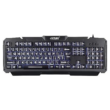 f32ee04b277 Large Font 3-Color Backlit Backlight Illuminated Low Vision Light Up USB  Keyboard: Amazon.ca: Electronics
