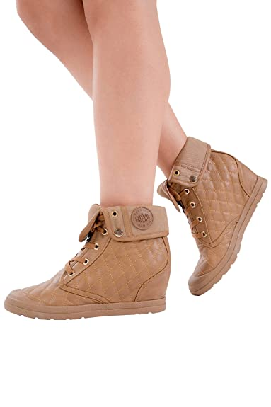 58a576c625b Lusty Chic Womens Black Camel Quilted Wedge Trainer Lace up High Top Wedges  Shoes UK Sizes
