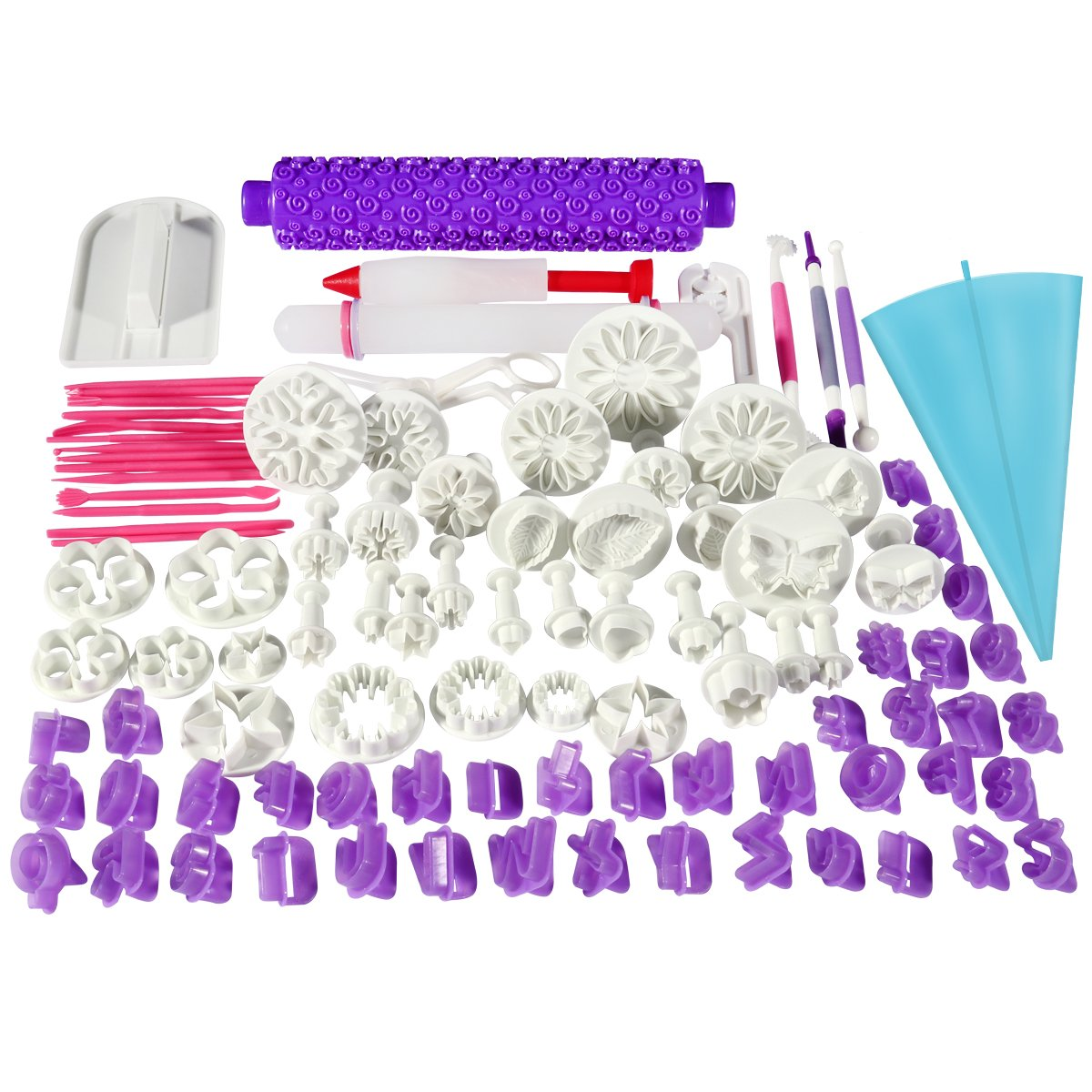BESTOMZ 94pcs Fondant Cake Cutter Cookie Bakeware Icing Decoration Kit with Flower Modelling Mold Mould Fondant Tools