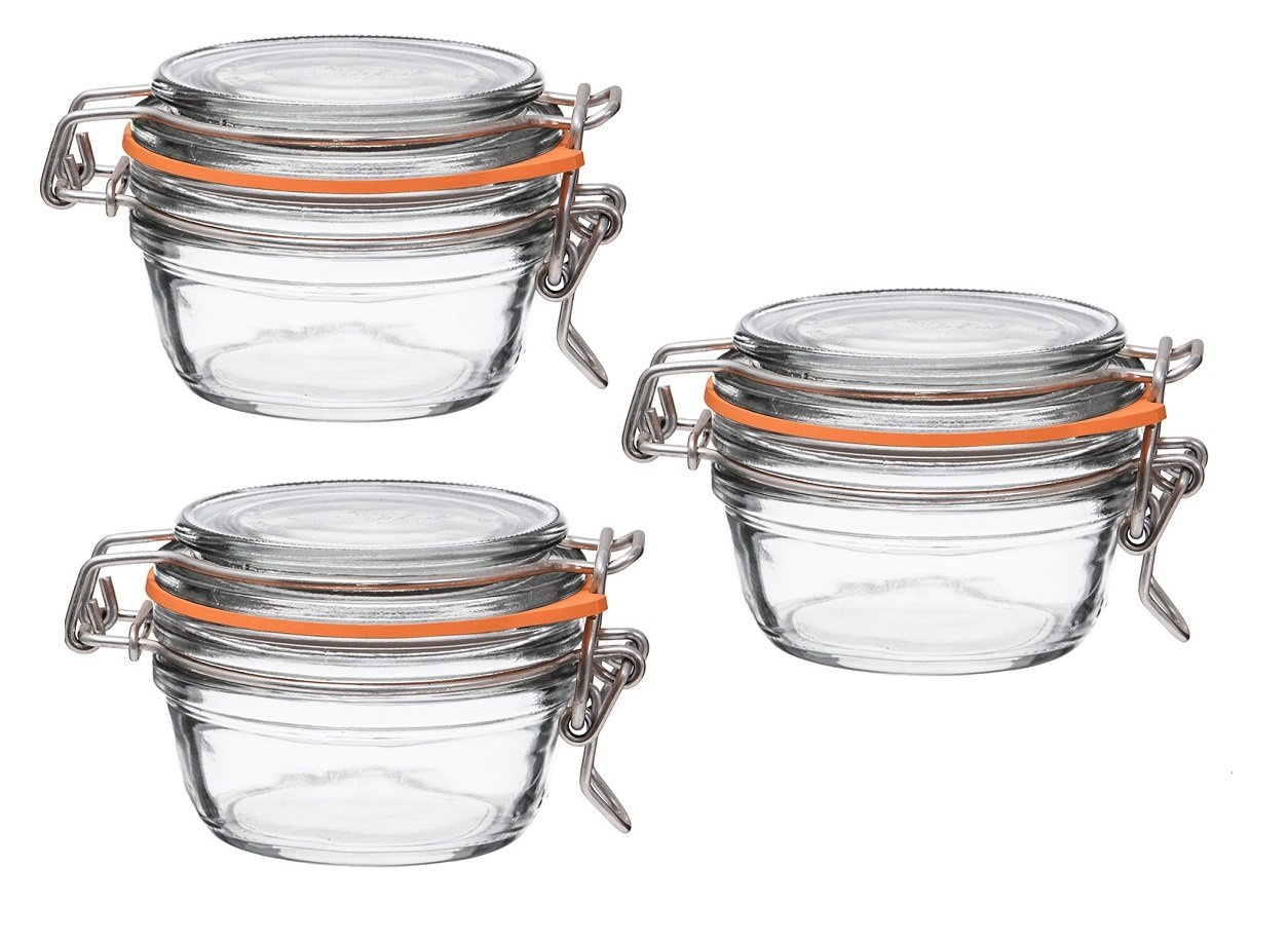 Le Parfait French Super Terrine Wide Mouth Jar - 125 Grams with 70 mm Gasket (Pack of 3) by Le Parfait