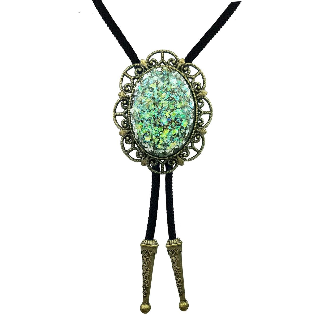 SELOVO Vintage Copper Tone Bolo Tie Nylon String Oval Shape Green Resin Stone
