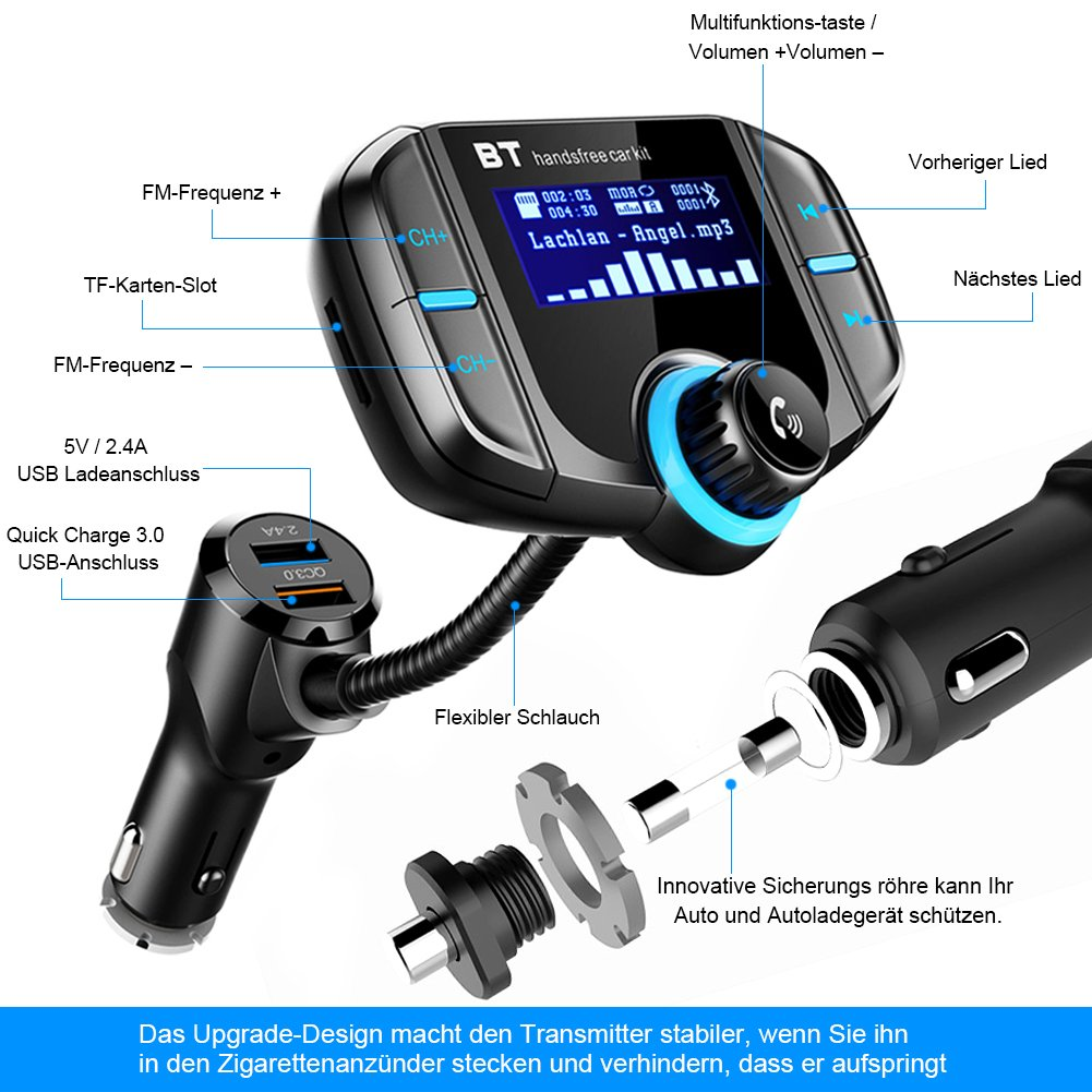 Bluetooth Fm Transmitter Sruik Kfz Auto Radio Adapter Car Kit Mit 2 Three Stage 9v Usb Ladern Aux Eingang 17 Zoll Display Zur Bertragung Von Musik Vom Tf Kartenslot