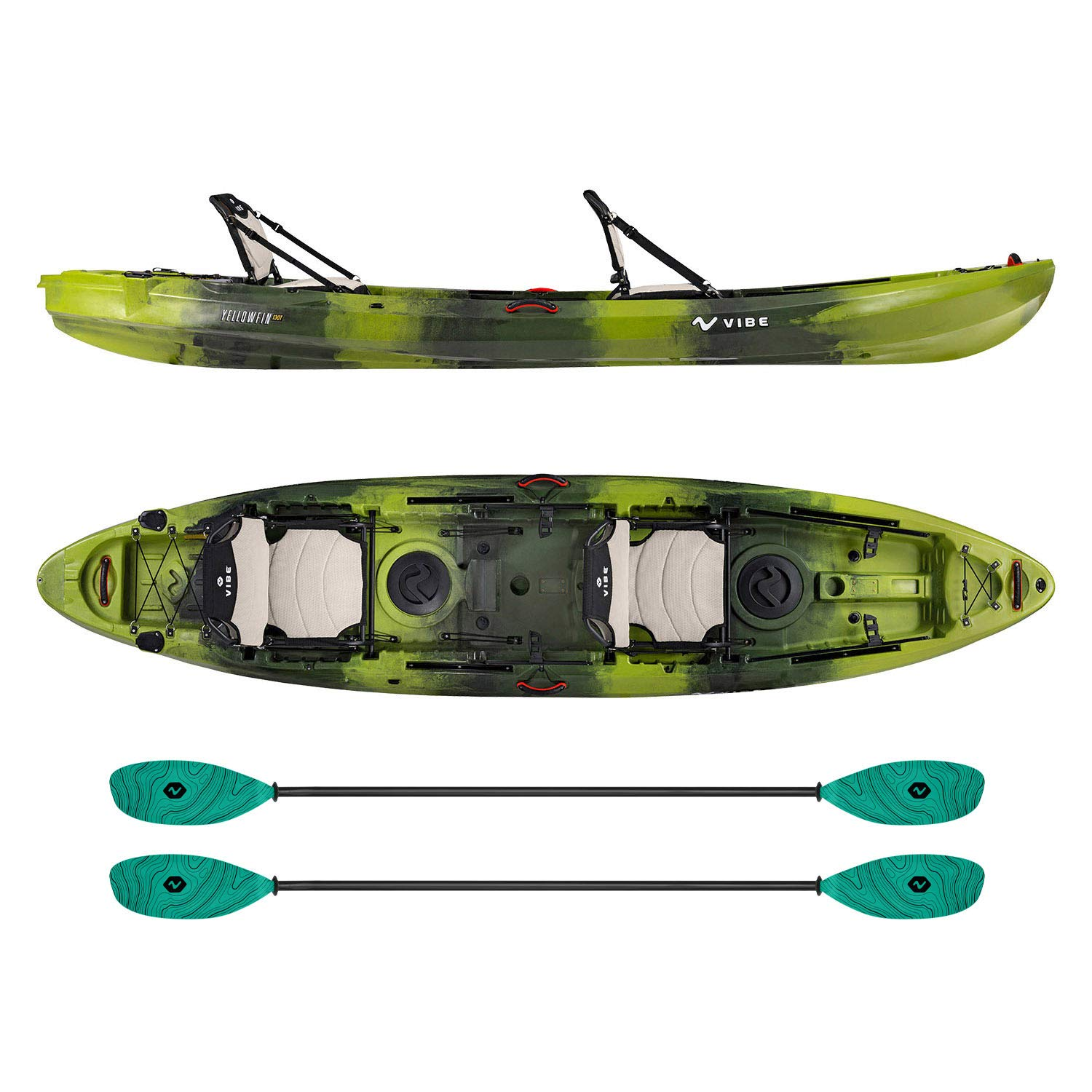 Vibe Kayaks Yellowfin 130T | 13 Foot | Tandem Angler and Recreational Two Person Sit On Top Fishing Kayak with 2 Paddles and 2 Hero Comfort Seats (Moss Camo - Caribbean Blue Evolve Paddle)
