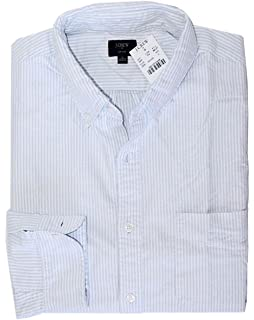 e4cd051a838314 J Crew Factory - Men's - Regular Fit - Blue Striped Oxford Cotton Shirt