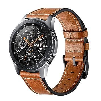 Circle compatible Samsung Galaxy 46 mm correa de reloj, correa de cuero genuino de 22