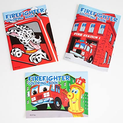 US Toy Assorted Fireman Fire Engine Mini Coloring Books (Lot of 12)