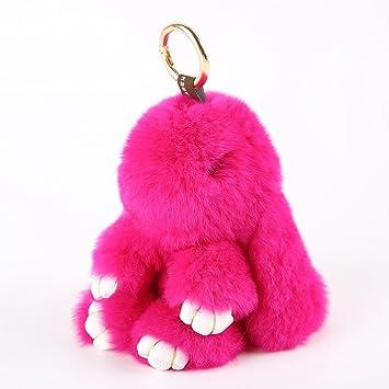 YISEVEN Llavero de juguete de peluche de conejo - Llavero suave y esponjoso de puntadas grandes