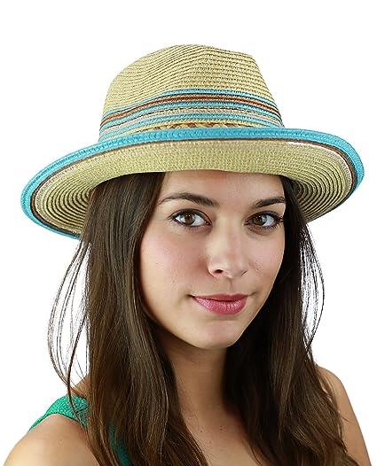 b839b36460d3 C.C Multicolored Metallic Gold Weaved Band and Brim Fedora Panama Sun Hat