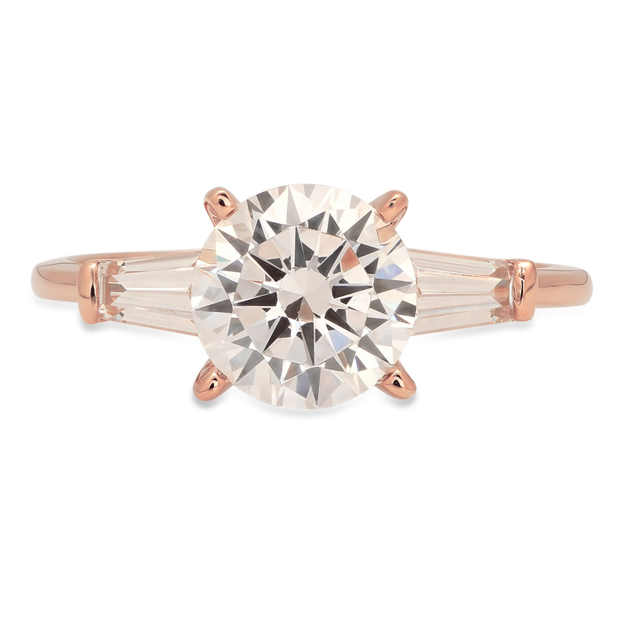 Brilliant Round Baguette Cut Solitaire 3 Stone Statement Engagement Wedding Anniversary Promise Bridal Ring Solid 14K Rose Gold for Women 1.8ct, 10.75