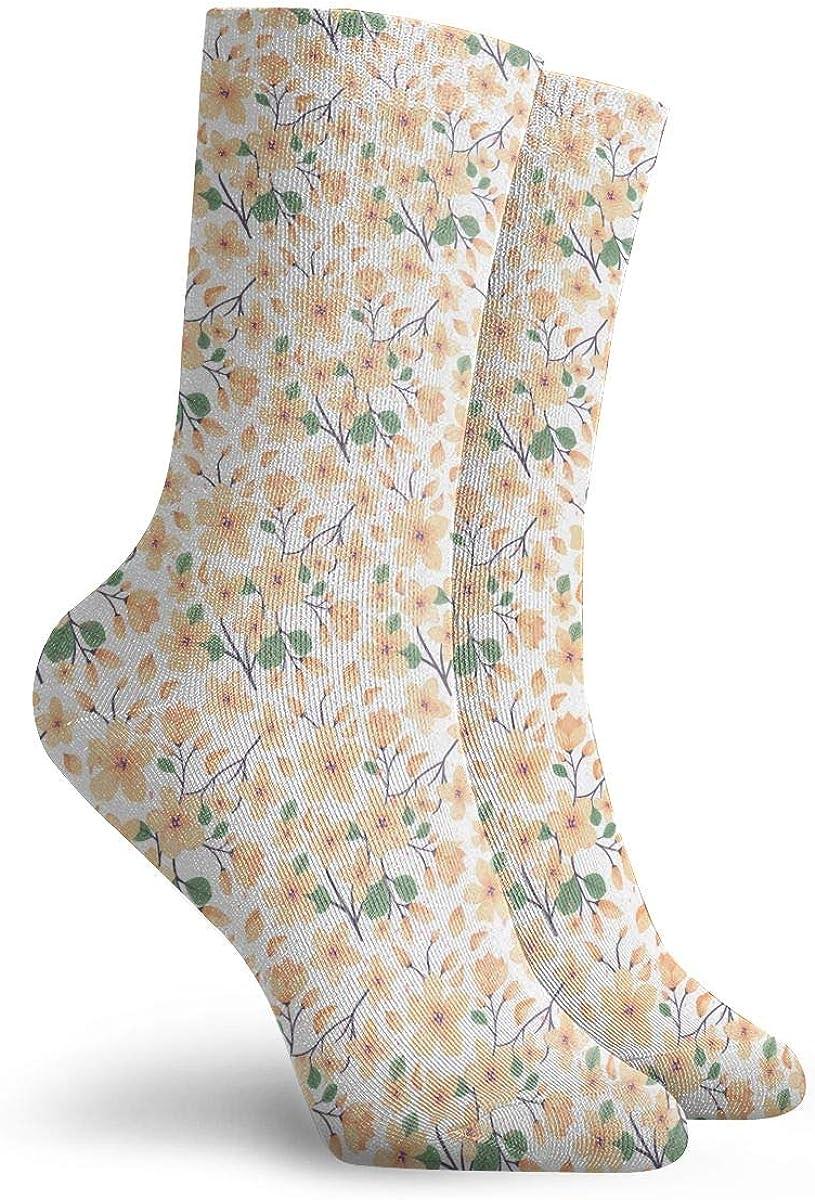 Mens Fashion Performance Polyester Socks Elegance Floral Summer Casual Athletic Crew Socks.