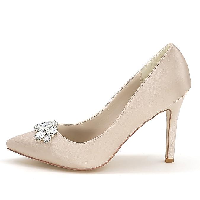 Elobaby Zapatos De Boda De Mujer Parte Noche Bombas Rhinestone Moda Tacones Altos Cerrado Punta/9,5 Cm: Amazon.es: Zapatos y complementos