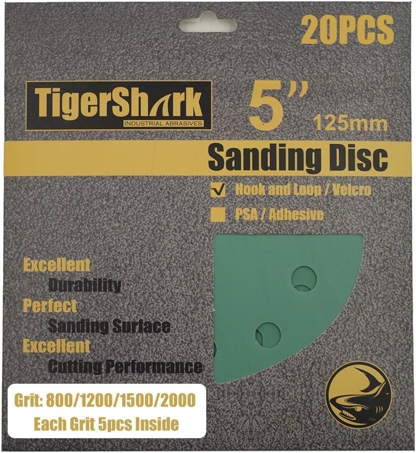 30 Sanding Disc for Orbital Sander Sandpaper Hook Loop 800-2000 Grits Pad 5 Inch