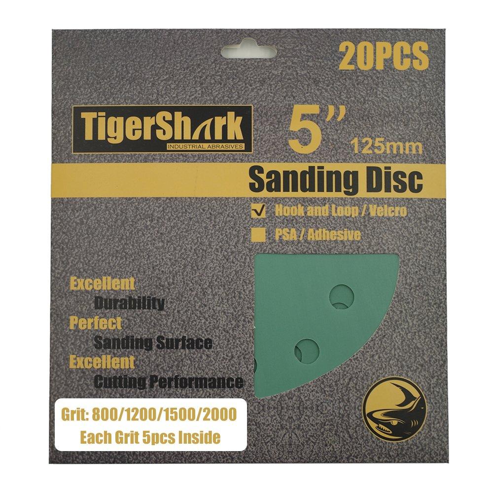 TigerShark 5 Inch Sanding Discs 8 Hole Wet Dry Grit 800/1200/1500/2000 20pcs Pack Special Anti Clog Coating Film Green Line Hook and Loop Dustless Random Orbital Sander Paper Super Fine