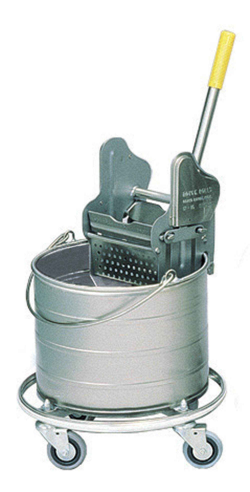 Royce Rolls Stainless Steel 4-Gallon Round Mop Bucket and 12-16 oz. Mop Wringer Combo on 3'' Casters - #404