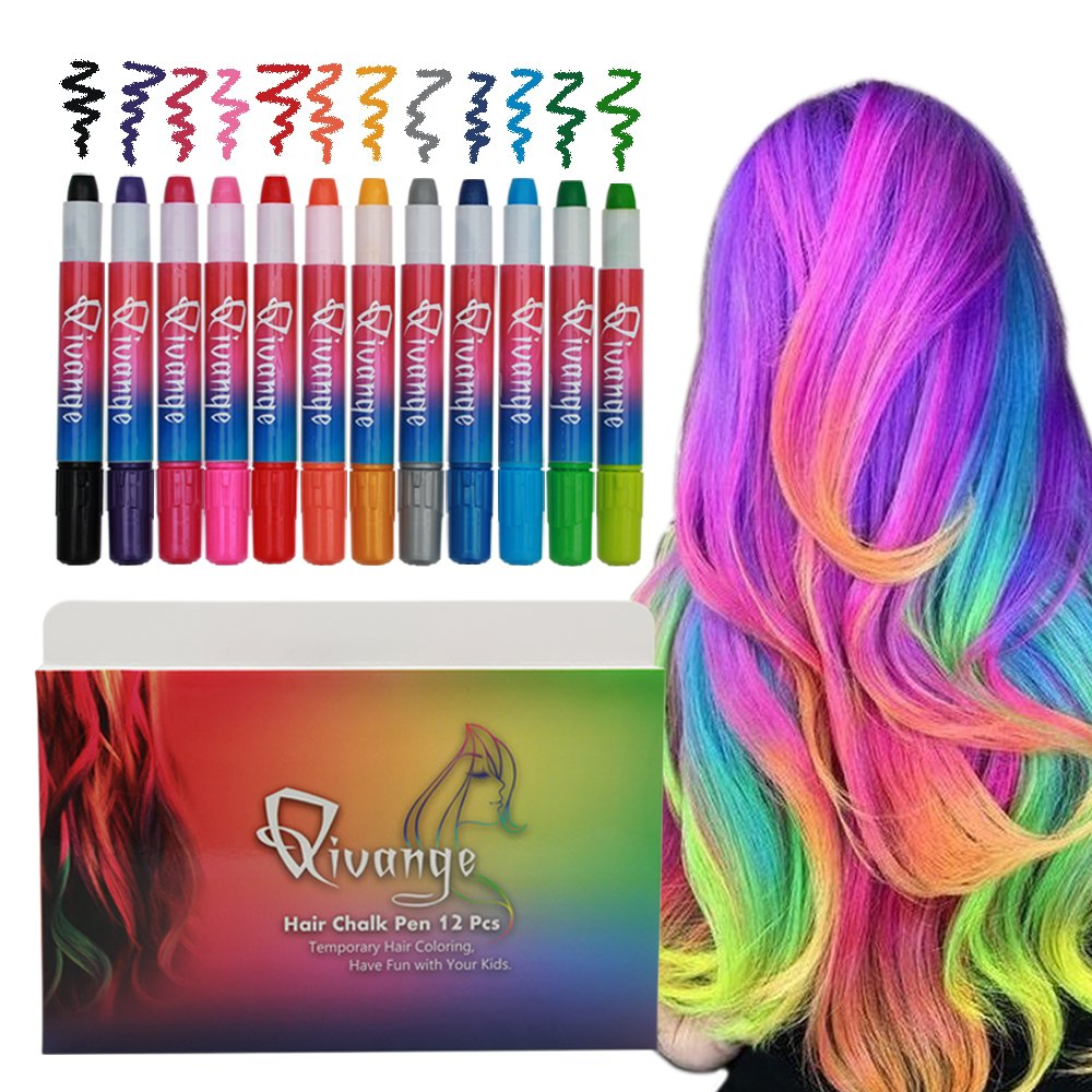 Qivange Hair Chalk Pens 12 Colors Bright, Christams Gift for Kids Temporary Washable Hair Color Girls Non-Toxic Hair Dye for Adults Party Cosplay, Birthday Gift for Boys Girls