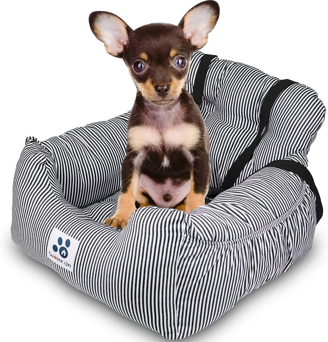Dog Car Seat Dog Travel Car Bed with Storage Pockets and Clip-on Safety Leash Comfortable and Anti-Slip Dog Booster Car Seat for Puppy Small Pet