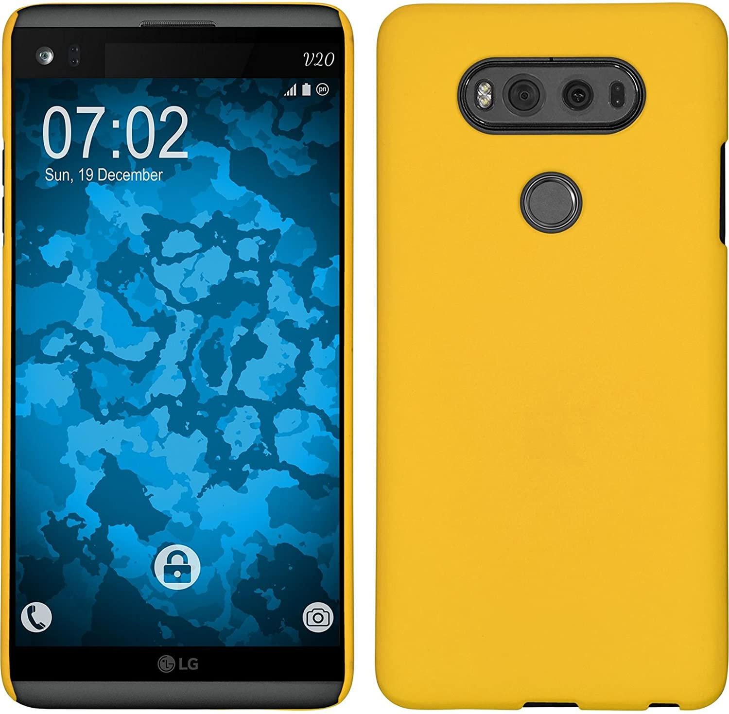 PhoneNatic Hardcase Compatible with LG V20 - Rubberized Yellow Cover + Protective foils