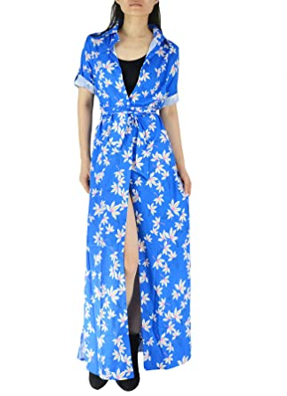 ae4d34c568 YSJERA Women's Floral Button Down Collar Roll Up Sleeves Maxi Shirt Dress  Side Split Cover Up