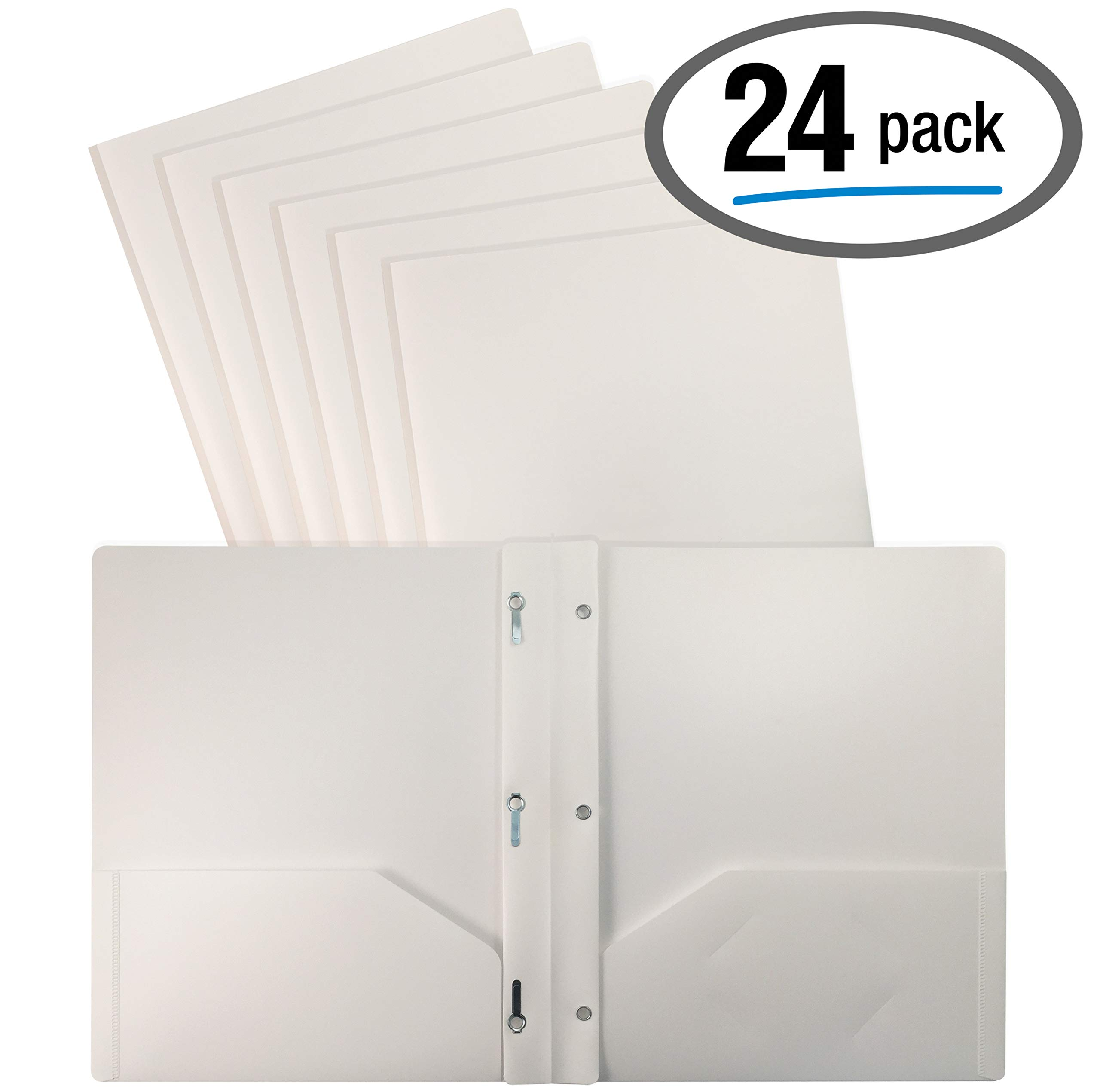 Better Office Products White Plastic 2 Pocket Folders with Prongs, 24 Pack, Heavyweight, Letter Size Poly Folders with 3 Metal Prongs Fastener Clips, White by Better Office Products