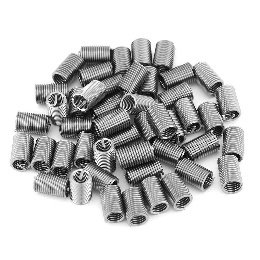 Wear-Resistance Stainless Steel SS304 Coiled Wire Helical Screw Thread Inserts M6 x 1.0 x 3D Length 50pcs Thread Repair Insert