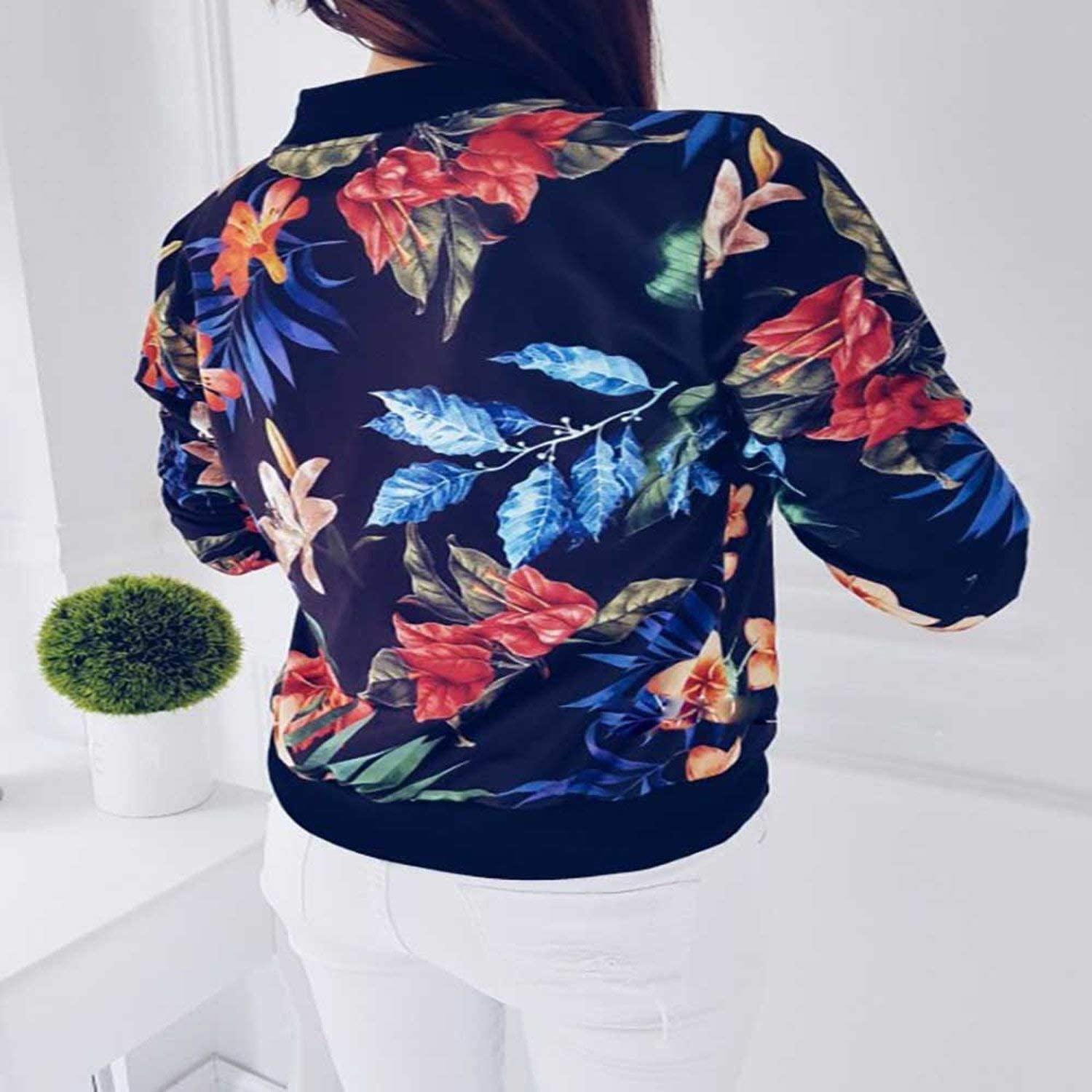 Women Baseball Bomber Jacket Stand Collar Long Sleeve Floral Zip Up Coat