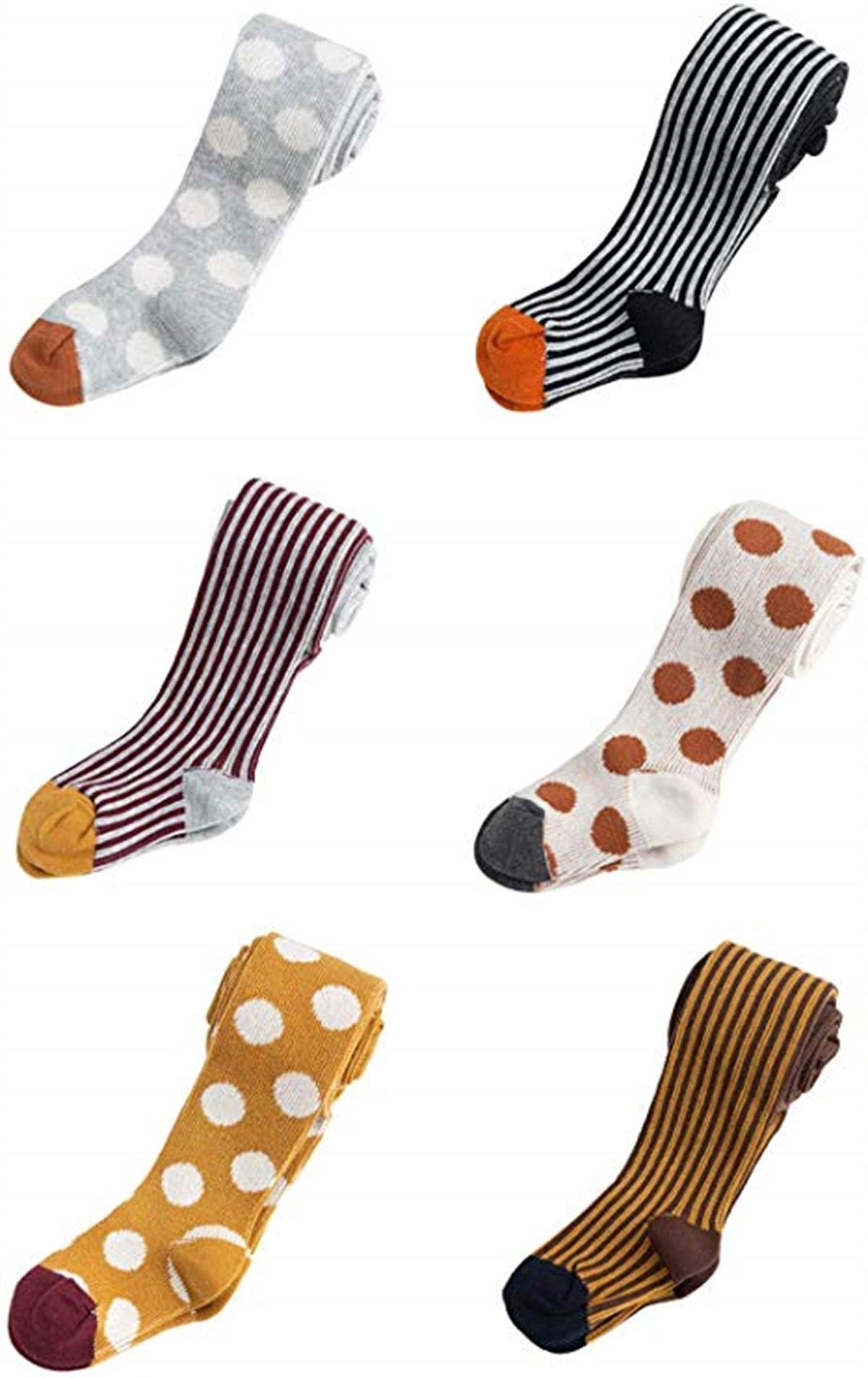Lemohome Baby Toddler Kid Girl Knitted Cotton Dot Striped Tights (Pack of 6,1T-3T) by Lemohome