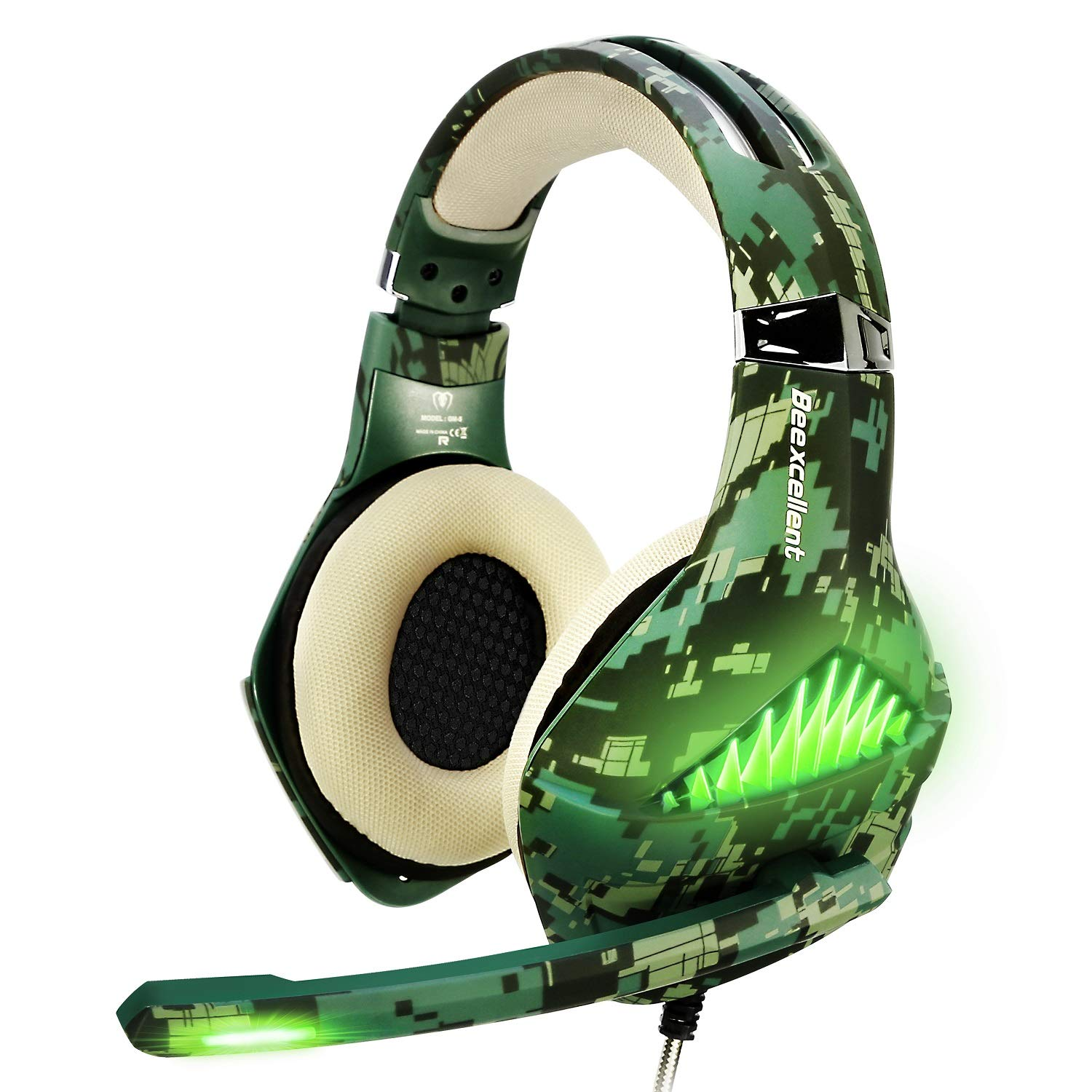 TURN RAISE Upgraded Gaming Headset with Mic for PS4, Laptop, Xbox One, Mac, iPad, Over Ear Headphones PS4 Headset Xbox One Headset with Surround Sound, LED Light Noise Canceling Microphone Camo