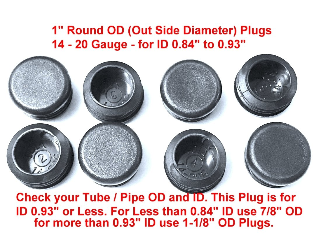 End Caps for Fitness Equipment Steel Furniture Pipe Tube Cover Insert | Pack of 8 Black FENCING Tubing Plug End Cap 1.25 Inch OD Round 10-14 Gauge 0.99-1.08 ID 1 1//4