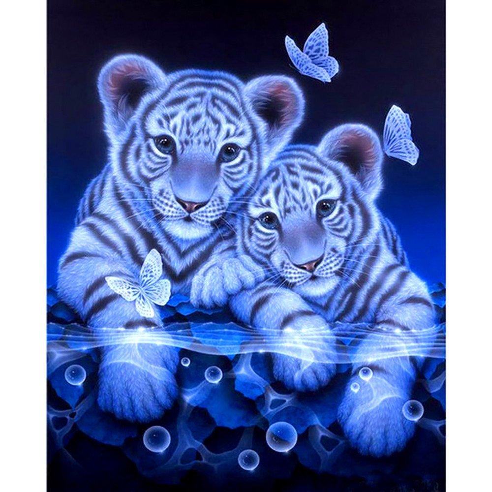 Two Cute Tiger 5D DIY Diamond Painting Kit Full Drill Rhinestone Embroidery Crystal Cross Stitch Kits Diamond Painting Accessories Tools Cross Stitch Kits Home Wall Decor Tanhangguan