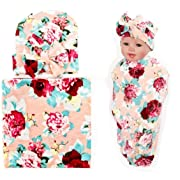 Quest Sweet Newborn Swaddle Receiving Blanket With Hats Floral Sleepsack For Toddler Baby Shower Gift