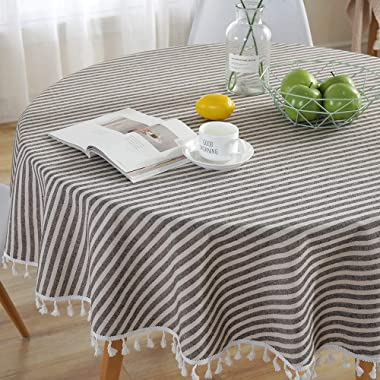 Lahome Stripe Tassel Tablecloth - Cotton Linen Table Cover Kitchen Dining Room Restaurant Party Decoration (Round - 60 , Coffee)