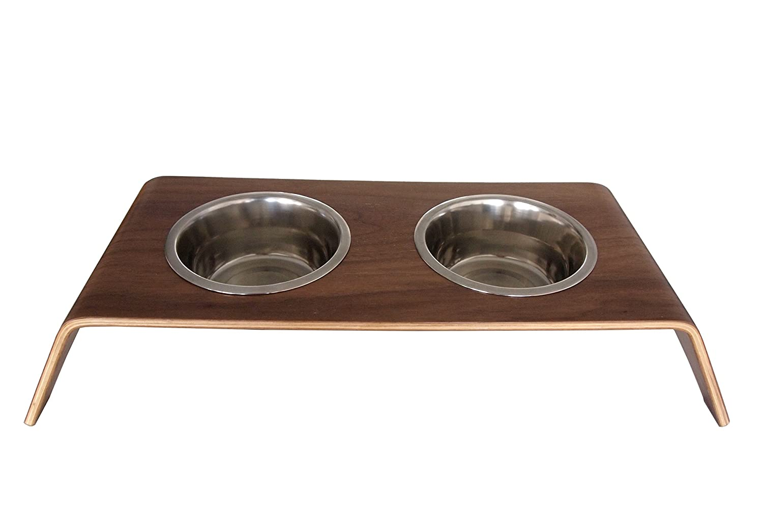 BowhausNYC Bentwood Dog Bowl, Brown