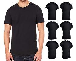 BILLIONHATS 6 Pack Mens Cotton Short Sleeve Lightweight T-Shirts, Bulk Crew Tees for Guys, Black Colors Bulk Pack