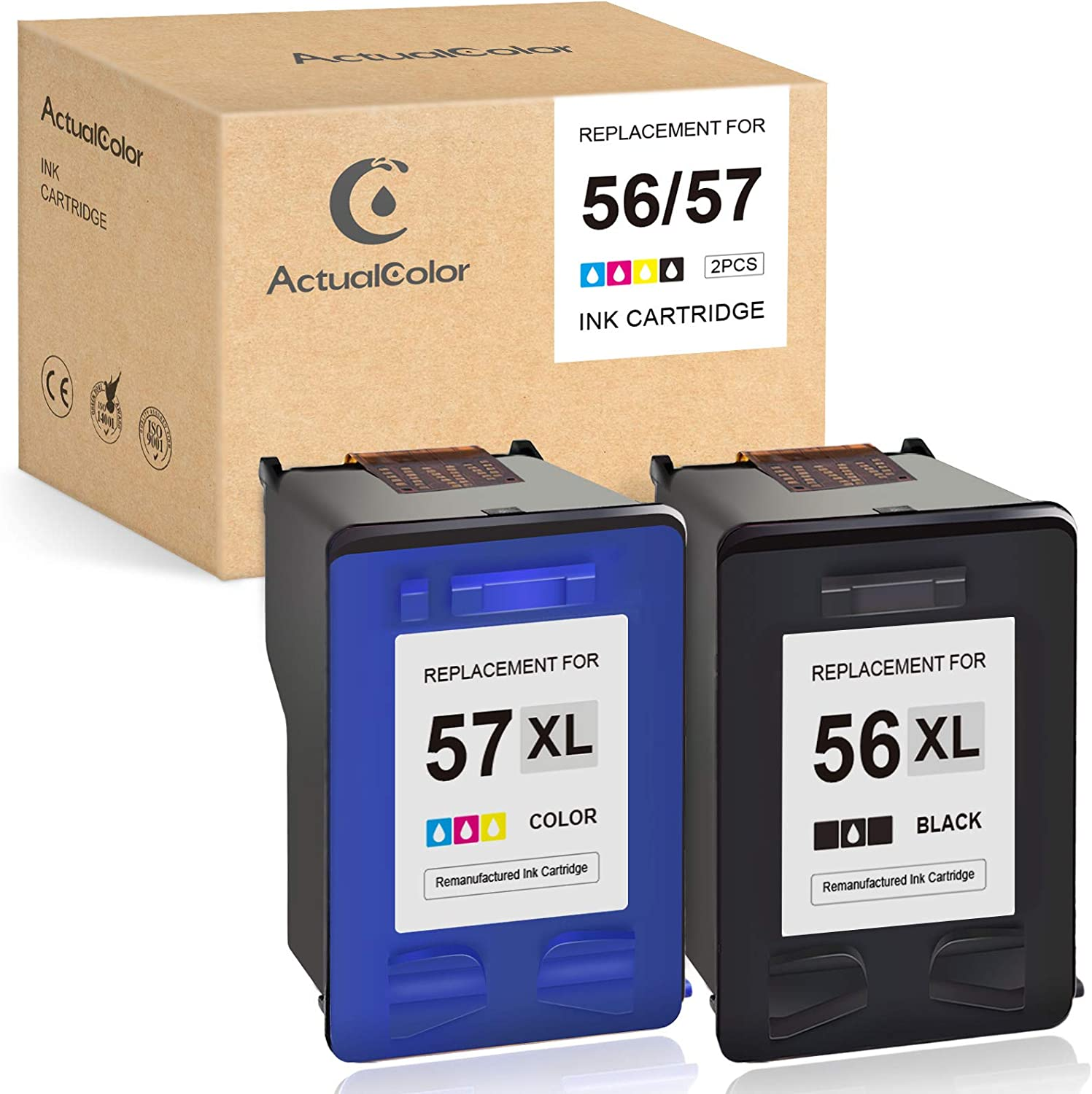 ActualColor C Remanufactured Ink Cartridge Replacement for HP 56 57 C6656AN C6657AN for Deskjet 5550 5650 5850 Officejet 4215 Photosmart 7260 7350 7450 7550 7760 7660 7960 PSC 2210 2410 1210 (2-Pack)