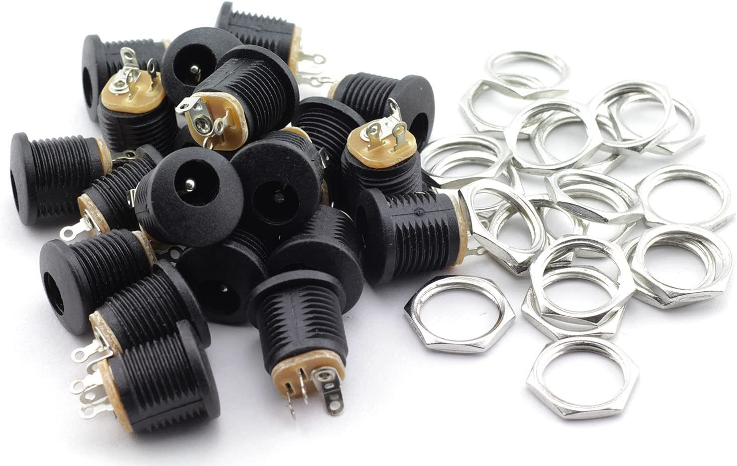 TOTOT 20 Pack 5.5mm x 2.1mm 3 Pin Female DC Power Jack Panel Mount Screw Nut Kit DC Socket Electrical Plug