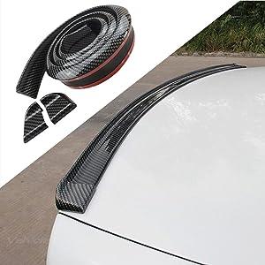 COOL·CAR 4.9ft (150cm) Universal Black Carbon Fiber Trunk Spoiler Lip Kit Car Rear Spoiler Exterior Rear Spoiler Kit Universal Fits for Most Cars Punch-Free Installation (Carbon Black long150cm)