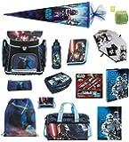 Star Wars Schulranzen Set 21tlg. Sporttasche, Schultüte 85cm, Federmappe, Regen/Sicherheitshülle SW blau