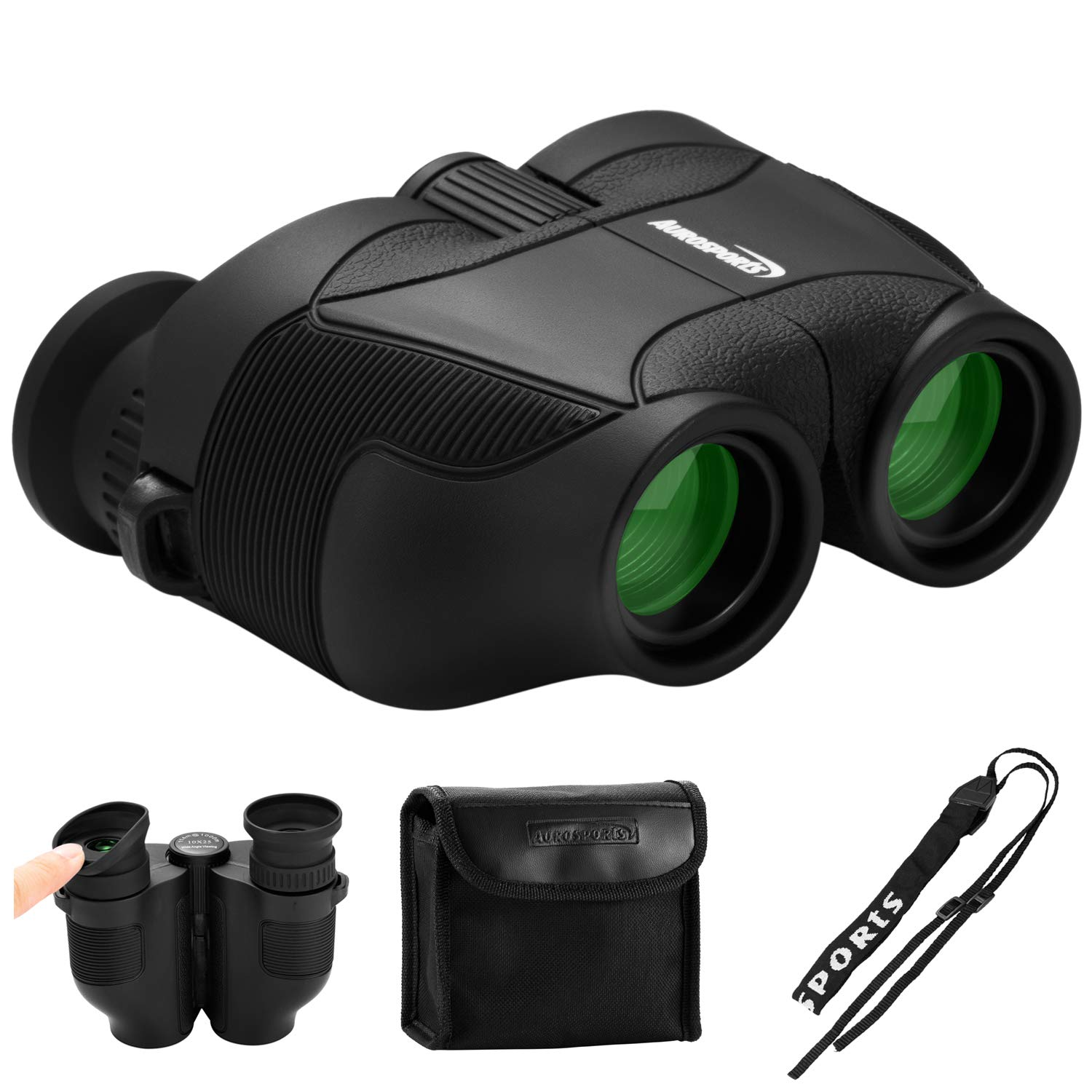Aurosports 12x25 HD Compact Binoculars with New Upgraded Foldable Eyepiece,High Powered Binocular with FMC Bak4 Prism Fit Adults Kids for Bird Watching Hunting Camping Hiking Concert by aurosports