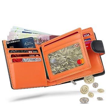 WILBEST Billetera de Hombre de Piel, Cartera RFID, Carteras Hombre con Monedero - Bloque 13.56 MHz, Cartera Personalizada Función de 4 en 1, Botón ...