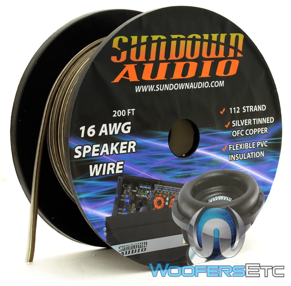 112 Strands Black/Silver - Sundown Audio 200 Ft 16 AWG Speaker Cable
