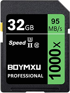 32GB Memory Card, BOYMXU Professional 1000 x Class 10 Card U3 Memory Card Compatible Computer Cameras and Camcorders, Camera Memory Card Up to 95MB/s, Green/Black