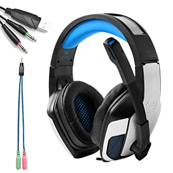 KOTIOM EACH G5300 Auriculares Gaming 3.5mm Gaming Headset Auriculares Cascos Juego Estéreo con Micrófono y Luz LED para nueva Xbox One PS4 Mac (Azul+Negro): ...