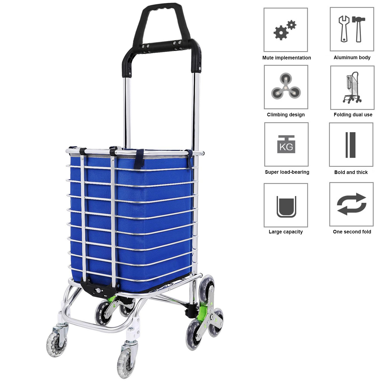 Folding Grocery Shopping Cart, Aluminum Double Handle Climbing Grocery Utility Cart with Removable Waterproof Oxford Cloth Bag and 8 Rolling Wheel for Stairs