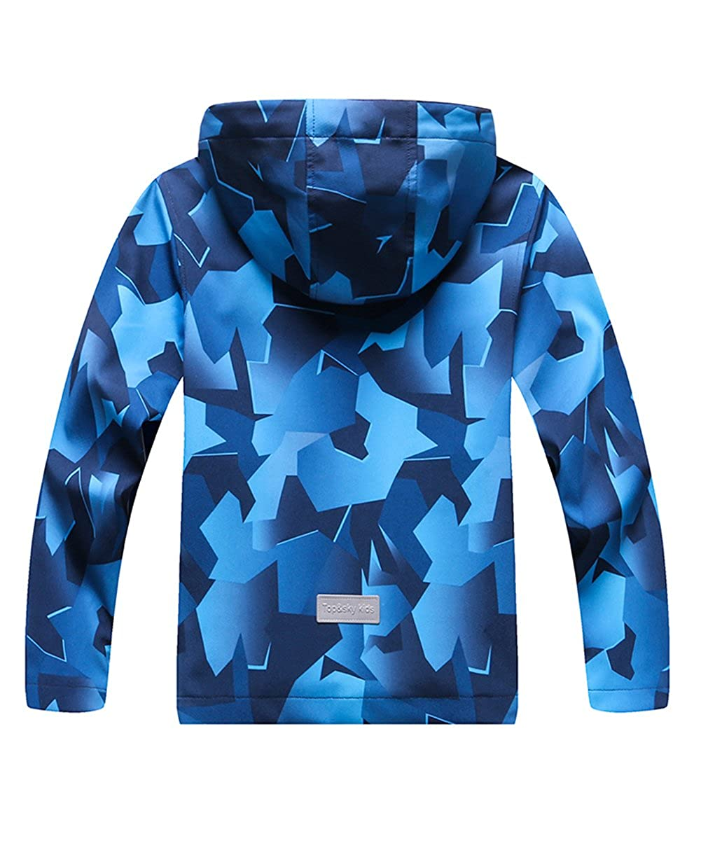 M2C Girls Hooded Outdoor Softshell Stars Pattern Windproof Active Jackets with Composite Mesh CGJP10USB